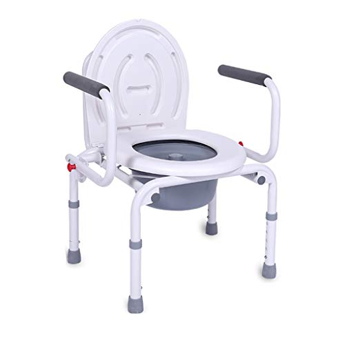MinMin Älterer Mann Toilettenstuhl, Schwangere Frau WC-Stuhl, ohne Rad und mit Armlehnen, höhenverstellbar, Weiss Tragbare Toilette (Color : White)