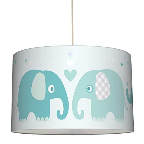 lovely label Hängelampe Elefanten Mint/GRAU – Lampenschirm für Kinder/Baby, Schirm mit Elefanten – Komplette Hängeleuchte für Kinderzimmer Mädchen & Junge