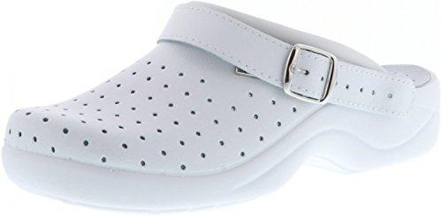 Saniflex Damen Clogs Arzt Praxis Arbeitsschuhe EN ISO 20347:2012 weiß, Größe:40, Farbe:Weiß