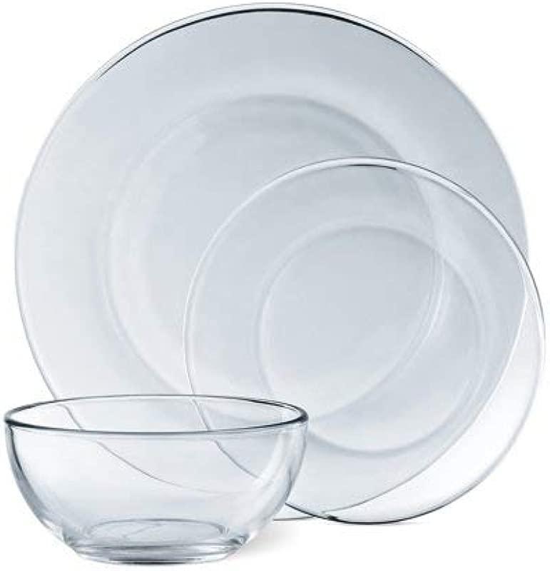 Mainstays 12 Piece Dinnerware Set Clear Glass