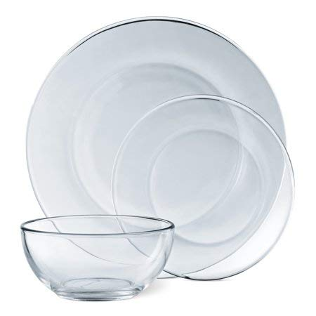 Mainstays 12-Piece Dinnerware Set, Clear Glass