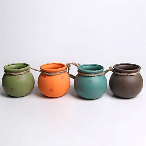Ironhorse Juego de 4 macetas colgantes de cerámica de color desierto para colgar en la pared, en el techo, mini maceteros para decoración del hogar
