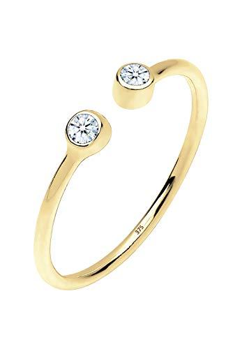 Elli PREMIUM Ring Damen Offen Statement Diamant (0.06 ct.) in 375 Gelbgold