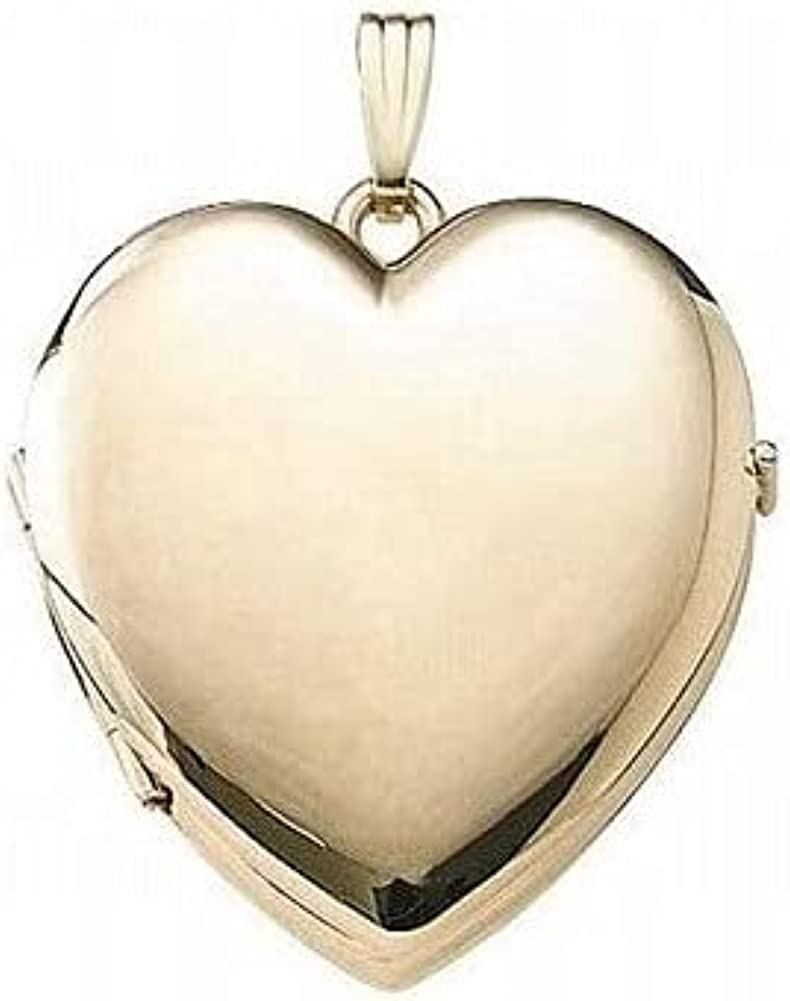 PicturesOnGold.com Solid 14K Gold Heart Four Photo Locket - 1 1/4 Inch X 1 1/4 Inch