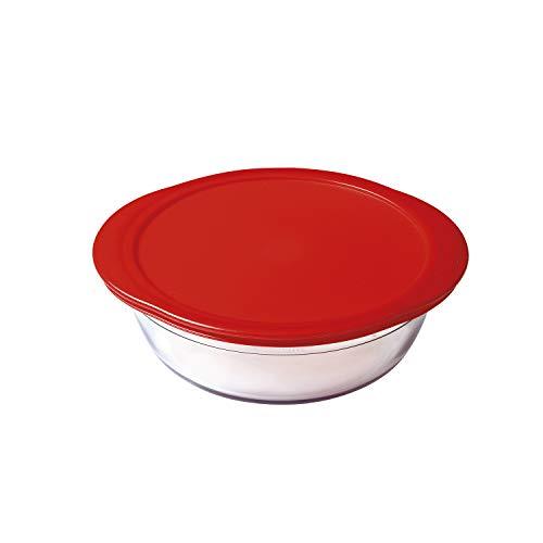 OCUISINE Cook & Store – Récipient Rond, 26 cm/2,3 L, Transparent + Couvercle, Couleur Rouge