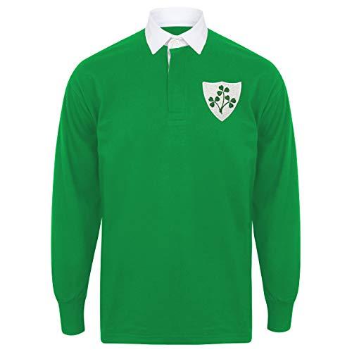Print Me A Shirt Chemise de Rugby rétro Irlandais pour Homme XL Vert Vif et Blanc.