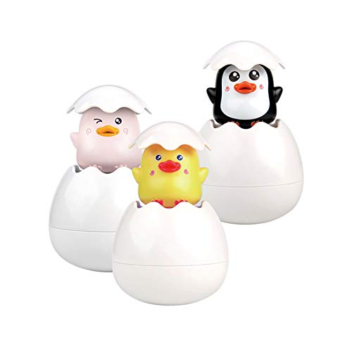 YCSD Bath Water Squirting Toy,3pcs Baby Bath Toy Spray Duck Egg,Easter Egg Baby Bathing Swimming Sprinkler Toy