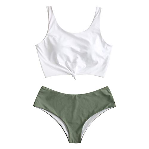 ZAFUL Women's Scoop Neck Tropical Leaf Knotted Two Pieces Tankini Set Swimsuit (Dark Sea Green, M)