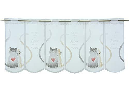 Clever-Kauf-24 Scheibengardine Motiv verliebte Katzen/weiß | Höhe 50cm | Breite frei wählbar in 18cm Schritten |