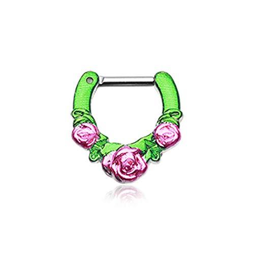 WildKlass Jewelry Adulto setto clicker 16G 1/10,2cm 6mm Rose Garden Icon Verde Rosa setto Anello