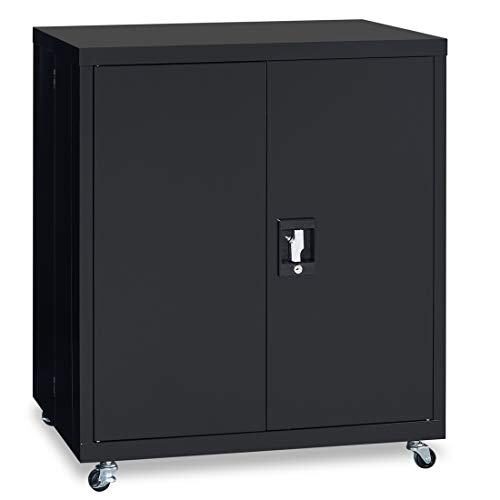 LUCYPAL Metal Storage Cabinet,Steel Cabinet with Lock and Adjustable Shelf,Steel SnapIt Counter Height Cabinet for Office and Home, Black