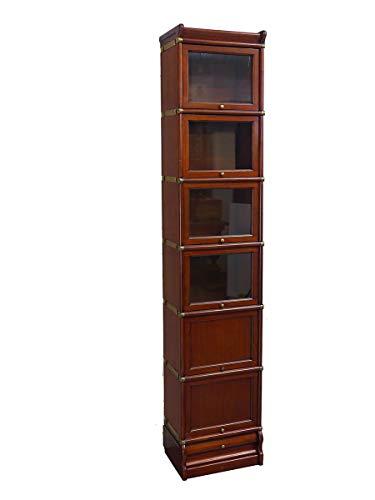 Antike Fundgrube Studio Globe Wernicke Regal | Steckbares Bücherregalsystem Mahagoni | Bücherregal mit Schublade (9672)