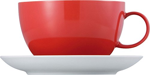 Thomas Sunny Day Tasse Jumbo avec Soucoupe, Porcelaine, New Red / Rouge, Mug 45 cL, 2 Pièces, 14780
