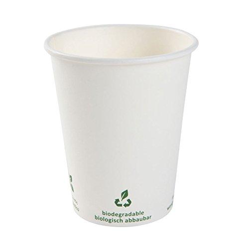 BIOZOYG Bio Kaffeebecher Pappe I Kompostierbares und biologisch abbaubares Geschirr I Trinkgefäß Kartonbecher I Einweg Kaffeebecher weiß mit Icondruck 1000 Stück 300ml 12 oz