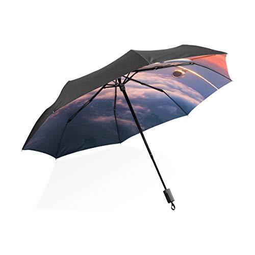 Einzigartige Regenschirme Für Frauen Flugzeug Im Himmel Bei Sonnenaufgang Tragbare Kompakte Taschenschirm Anti Uv-Schutz Winddicht Outdoor Travel Frauen Umgekehrt Winddicht Regenschirm