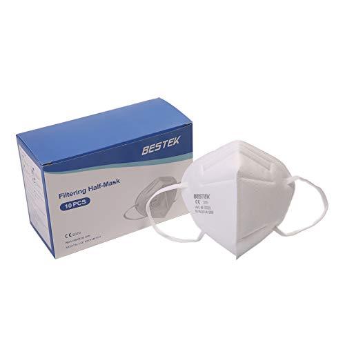 BESTEK Mascherine FFP2 NR KN95 Certificate CE EN 149: 2001 + A1: 2009, 5-Strati Filtraggio Mascherine Facciali Protettive Antipolvere, Confezione da 10 Pezzi