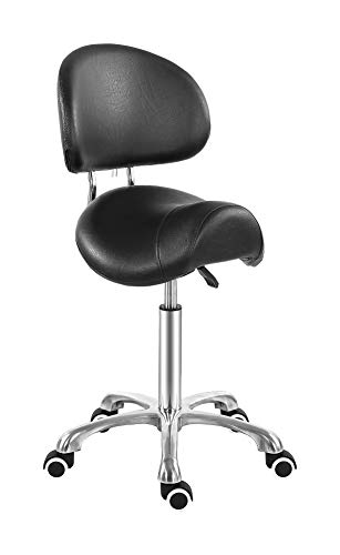 Saddle Stool Chair with Back Ergonomic Rolling Esthetician Seat for Salon Tattoo Shop Spa Home Dentist Clinic (with Backrest, Black)