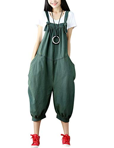 Youlee Damen Strappy Overalls Beiläufig Overall Baumwolle Latzhose Style 4 Green