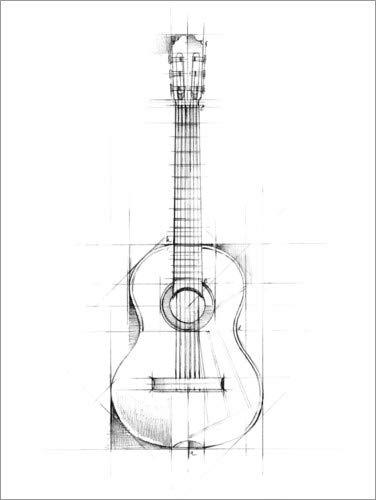 Poster 30 x 40 cm: Gitarren-Skizze von Ethan Harper/World Art Group - hochwertiger Kunstdruck, neues Kunstposter