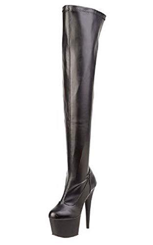 Pleaser Damen ADORE-3000 Kurzschaft Stiefel, Schwarz (Schwarz (Blk STR Faux Leather/Blk Matte), 38 EU