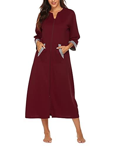 Ekouaer Morgenmantel Damen Leicht Loungewear Reissverschluss Herbst Hausmantel Warm Kimono mit Taschen 3/4 Ärmeln Winter Nachtwäsche Lang Bademantel Damen Baumwolle Weinrot XXL