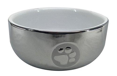 bubimex 3851 Ecuelle Céramique Argentée pour Chien 1,6 L