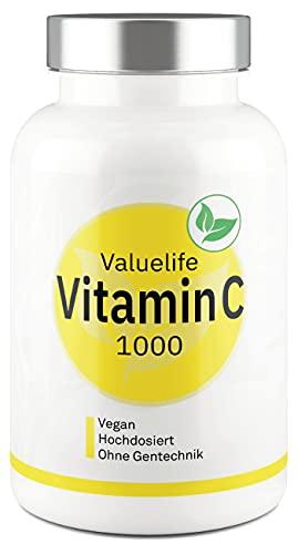 VITAMIN C TABLETTEN I Hochdosiert 1000mg - Teilbar in 2 x 500mg I Aus natürlicher, pflanzlicher Fermentation I Vegan & ohne Zusatzstoffe I 180 Tabletten