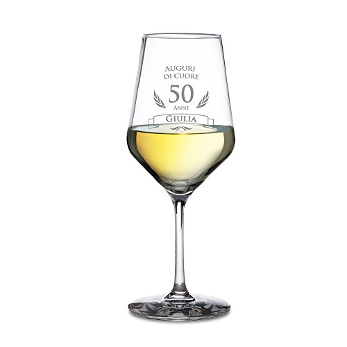AMAVEL Calice da Vino Bianco con Incisione per Il Compleanno, Auguri di Cuore 50 Anni, Personalizzato con Nome, Regali Originali per Lui e Lei, Bicchiere in Vetro Chiaro