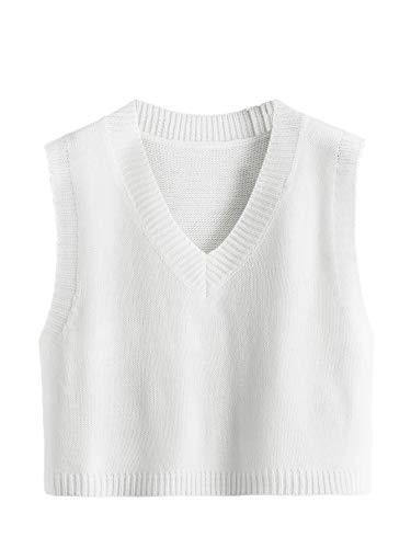 Romwe Women's Knitted Cotton V-Neck Vest JK Uniform Pullover Sleeveless Crop Sweater School Cardigan White Large