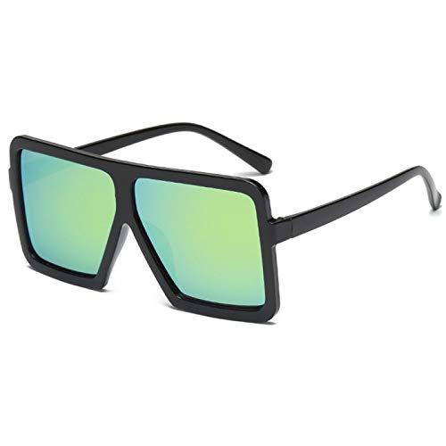 NJJX Gafas De Sol Cuadradas Planas Grandes Para Mujer, Montura Grande De Gran Tamaño, Deslumbrante, Gafas Unisex Para Conducir, Accesorios Para Automóviles, Negro Y Amarillo