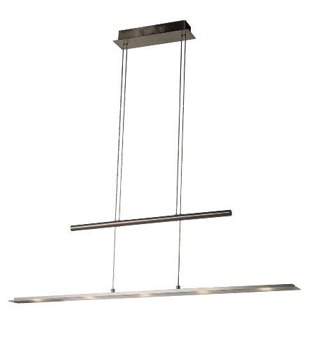Suspension LED 8095-05B Abat-jour suspension en chrome et acrylique, longueur 100 cm largeur réglable de 7,5 cm, hauteur 150 cm Blanc chaud 3000 K 1200 lm