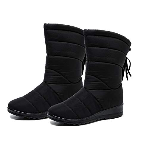 Warm Women Winter Boots, Women's Knee High Shoes Snow Boots, Ladies's Waterproof Fur Lined Frosty Warm Anti-Slip Boot, Female Winter Snow Booties Outdoor Footwear(1 Pair) Black 39