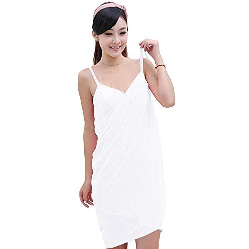 chenghuax Albornoz de Toalla de Microfibra para Mujer y Turbante de Cabello con Espalda y Cierre elástico (Color : White, Size : -)