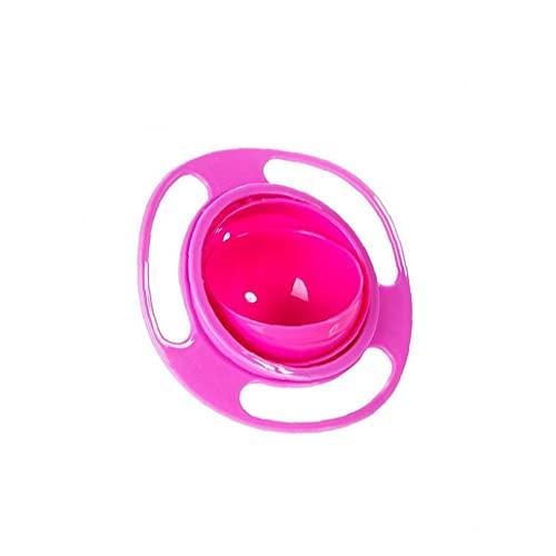 Tuimiyisou Creativa bebé tazón de Fuente Gyro Duradero derrame de rotación de 360 ??Grados Cuenco Resistente giroscópico Vajilla para los niños Los niños pequeños Rosa Rojo