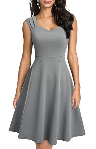 HOMEYEE Vestido de verano A246 para mujer, cuello en V, sin mangas, de un solo color, línea A gris L