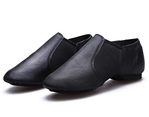 AZLLY Womens Cozy Jazz Schoenen Zacht Leer Latijnse Dans Schoenen Zwart Modern Heren Ballroom Tango Dans Schoenen Slip op Sneaker voor Alle seizoenen