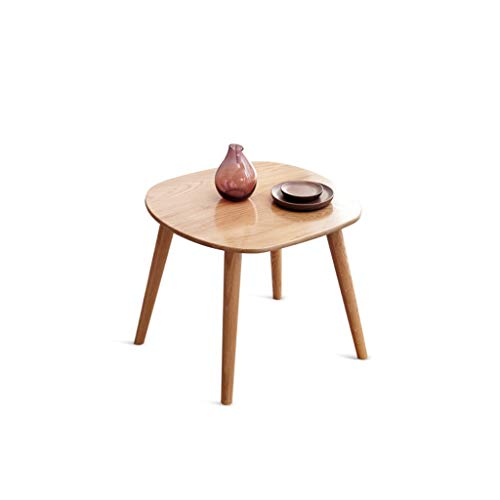 LIN HE SHOP Moderne eenvoud ronde kant/koffie/eetkamer/lamp/bijzettafel, eiken puur, hout, 60 x 60 x 50 cm