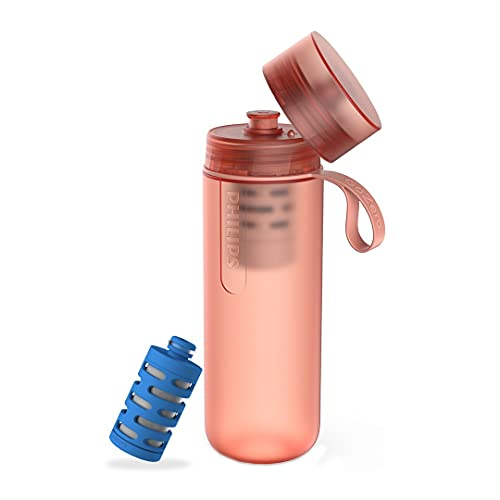 Philips Water GoZero Active Bottle with One Fitness Filter, Squeeze Hydration Bottle, Filtering Water Bottle, Reducing Chlorine, BPA-Free, 20 oz, Red