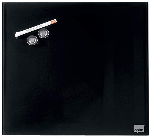 Nobo Pizarra Blanca Pequeña Magnética, Limpiado en Seco, Sin Marco, Sistema de Montaje en Pared Oculto, Incluye Rotulador e Imanes, Negro, 300 x 300mm, 1903950