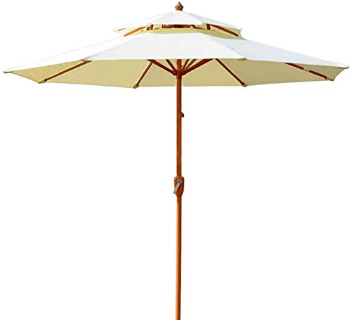 aipipl Ombrellone Doppio Bianco per Patio/Ponte/Spiaggia, Protezione UV Impermeabile ombrellone da 9 Piedi ombrellone da Tavolo con 8 Stecche e manovella