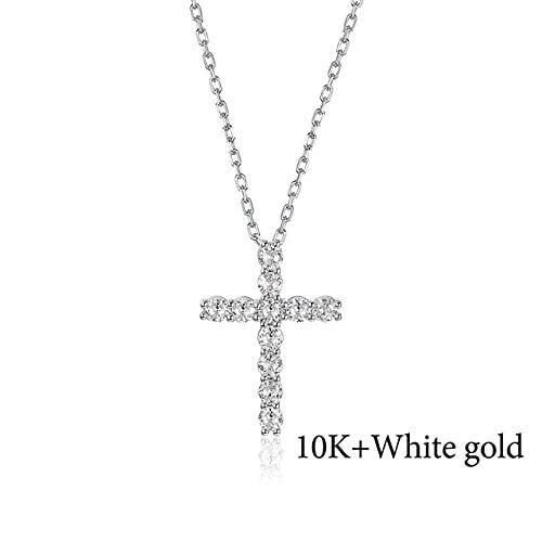 JIUXIAO 14K 10K 585 Colgantes de Cruz de Moissanite de Oro Rosa para Mujer, Redondo, 3,0 Mm, Collar de Lujo Solitario de 1 quilate para Compromiso