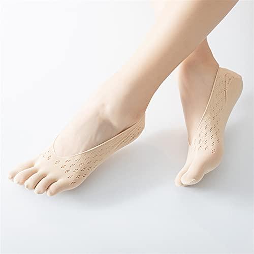 Los cinco dedos de las mujeres calcetines calcetines ultrafinos con los calcetines de barcos transpirables de gel (Color : Black, Size : X-SMALL)