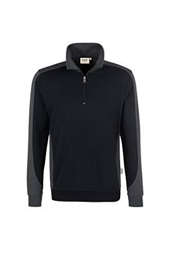 HAKRO Zip Sweatshirt Contrast Performance, HK476-schwarz, XL