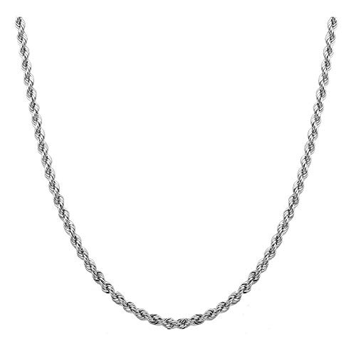 Sterling Silver 2mm diamond cut rope chain necklace- Made In Italy (Rhodium, 18)