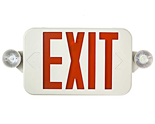 All LED Decorative Red Exit Sign & Emergency Light Combo with Battery Backup