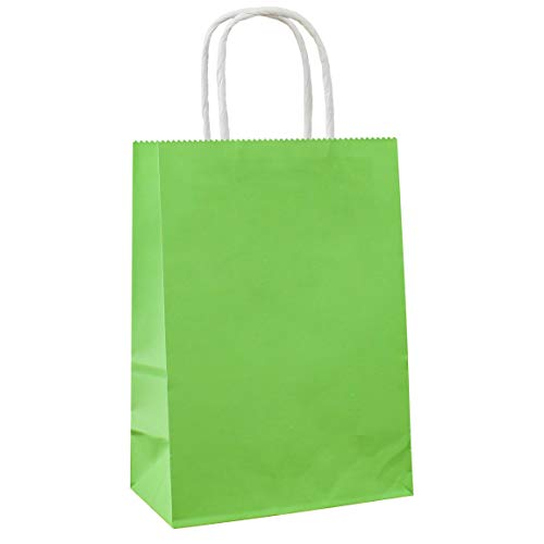 25 PCS Small Gift Bags Green Kraft Paper Bags with Handles for Party Favor Supplies by ADIDO EVA (8.2 x 6 x 3.1 In)