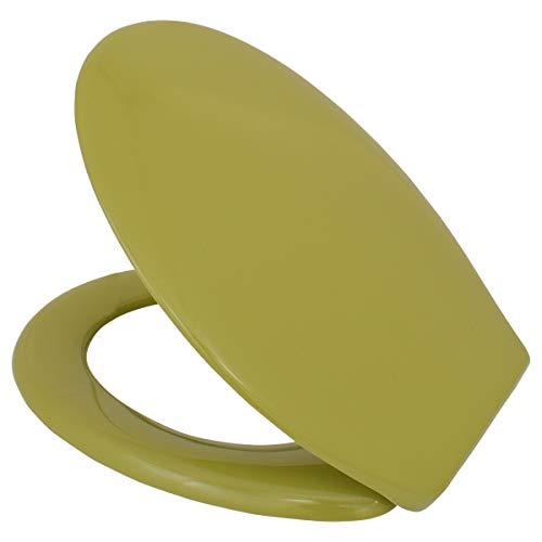 LUVETT® PREMIUM WC-SITZ C200 oval mit EasyFix® Steckscharnier (Bequeme, stabile Befestigung von oben), hygienisch & beständig: Urea Duroplast Toilettendeckel, rostfreier Edelstahl, Farbe:Moosgrün