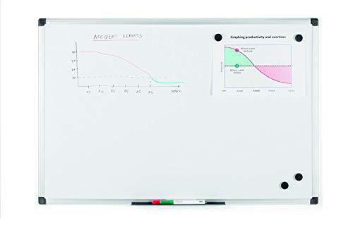 Bi-Office Maya - Pizarra blanca magnética con marco de aluminio, 900 x 600 mm, blanco