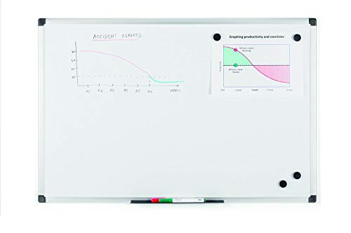 Bi-Office Maya - Pizarra blanca magnética marco aluminio