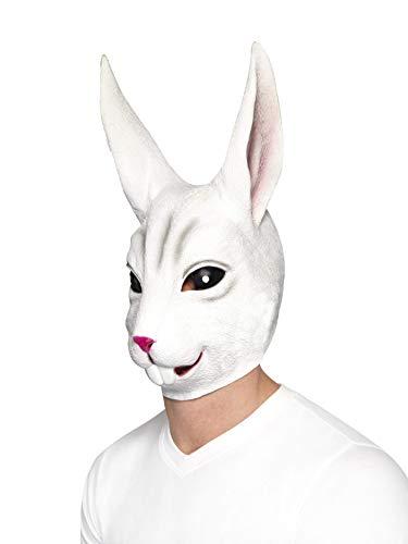 Smiffys Unisex Hasen Gesichtsmaske, Ganzer Kopf, Latex, One Size, Weiß, 44570
